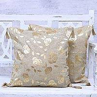 Jute cushion covers, 'Golden Rose' (pair) - Rose Print Cushion Covers Gold Tassels Pair