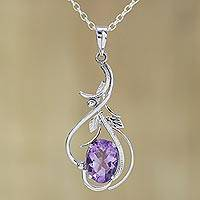 Rhodium plated amethyst pendant necklace, 'Wisteria Vines' - Rhodium Plated Amethyst Pendant Necklace from India