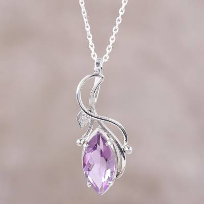 Amethyst pendant necklace, 'Purple Gleam' - Four-Carat Amethyst Pendant Necklace from India