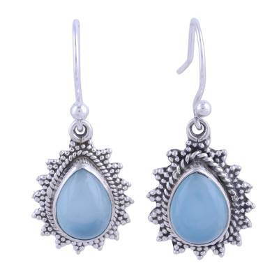 Chalcedony and 925 Silver Dangle Earrings from India