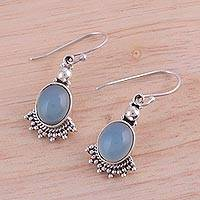Chalcedony dangle earrings, 'Gleaming Fans' - Fan-Shaped Blue Chalcedony Dangle Earrings from India