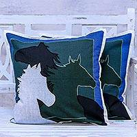 Cotton cushion covers, 'Countryside Horses' (pair) - Pair of 100% Cotton Horse Cushion Covers from India