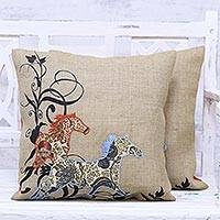 Jute cushion covers, 'Twin Horses' (pair) - Two Jute Cushion Covers with Floral Horse Motif from India