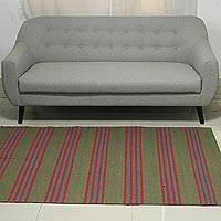 Wool blend dhurrie rug, 'Stripes of Life' (4x6) - 4x6 Striped Wool Blend Dhurrie Rug in Avocado and Paprika