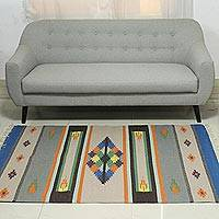 Wool dhurrie rug, 'Geometric Joy' (4x6) - 4x6 Geometric Colorful Wool Dhurrie Rug from India