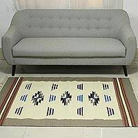 Wool dhurrie rug, 'Sepia Kaleidoscope' (4x6) - 4x6 Wool Dhurrie Rug in Sepia and Ivory from India