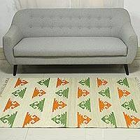 Wool dhurrie rug, 'Geometric Harmony' (4x6) - 4x6 Wool Dhurrie Rug with Carrot and Avocado Motifs