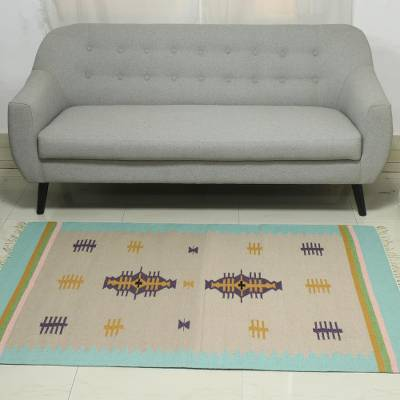 Wool dhurrie rug, 'Beach Caravan' (4x6) - 4x6 Wool Dhurrie Rug with a Border in Mint from India
