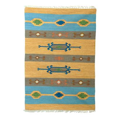 Wool dhurrie rug, 'Beach-Side Brilliance' (4x6) - 4x6 Colorful Geometric Wool Dhurrie Rug from India