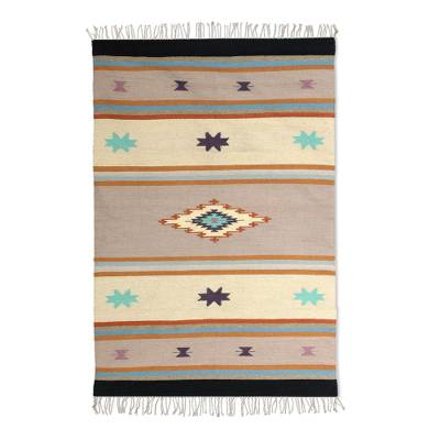 Wool dhurrie rug, 'Starry Sunrise' (4x6) - 4x6 Wool Dhurrie Rug in Dusty Lilac from India
