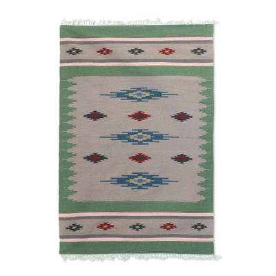 Wool dhurrie rug, 'Avocado Brilliance' (4x6) - Handwoven Dhurrie Rug with Geometric Pattern from India