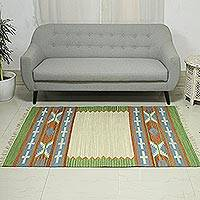 Wool blend dhurrie rug, 'Indian Style' (4x6) - 4x6 Handwoven Geometric Wool Blend Dhurrie Rug from India