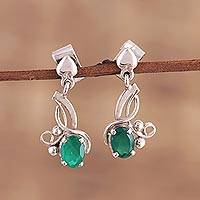 Rhodium plated onyx dangle earrings, 'Green Twist' - Rhodium Plated Green Onyx Dangle Earrings from India