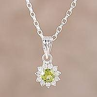 Rhodium plated peridot pendant necklace, 'Gleaming Flower' - Peridot and CZ Rhodium-Plated Sterling Silver Necklace