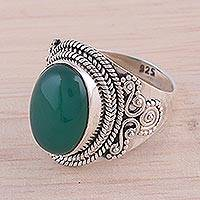 Onyx cocktail ring, 'Ecstatic Green' - Green Onyx and Sterling Silver Cocktail Ring from India