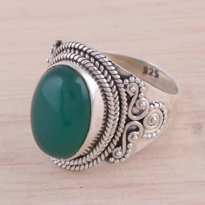 wide silver ring womens hooded - Green Onyx and Sterling Silver Cocktail Ring from India