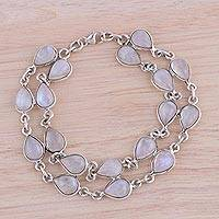 Rainbow moonstone link bracelet, 'Eternal Nature' - Rainbow Moonstone and Sterling Silver Link Bracelet