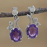 Rhodium plated amethyst dangle earrings, 'Pretty Lilac' - Rhodium Plated Leafy Amethyst Dangle Earrings from India