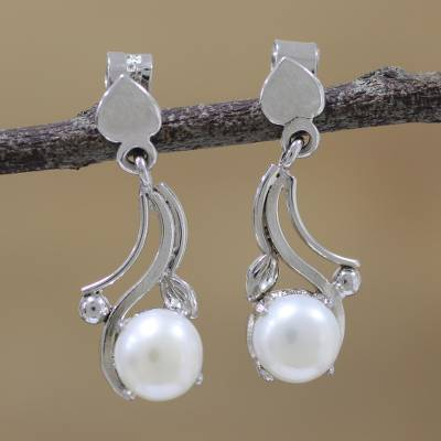Rhodium plated cultured pearl dangle earrings, 'Glowing Wisp' - Rhodium Plated Cultured Pearl Dangle Earrings from India
