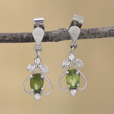 Peridot dangle earrings, Leafy Spade