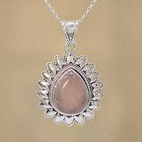 Rose quartz pendant necklace, 'Pink Glimmer' - Rose Quartz and Sterling Silver Pendant Necklace from India
