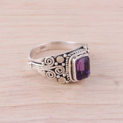 Amethyst and Sterling Silver Single Stone Ring from India