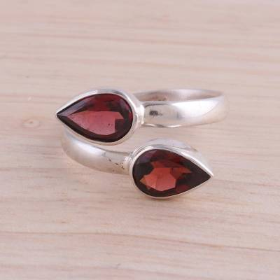 Garnet wrap ring, Radiant Drops