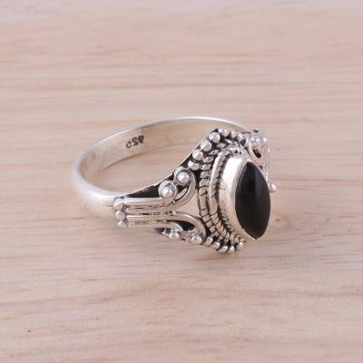Onyx and Sterling Silver Single Stone Ring from India
