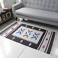 Wool dhurrie rug, 'Geometric Beauty' (3x5) - 3x5 Wool Dhurrie in Graphite and Pearl Grey from India