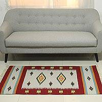 Wool dhurrie rug, 'Exciting Crimson' (3x5) - 3x5 Wool Dhurrie in Crimson and Pearl Grey from India