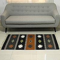 Wool dhurrie rug, 'Night of Stars' (3x5) - 3x5 Striped Wool Dhurrie Rug with Geometric Motifs