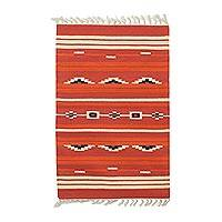 Wool dhurrie rug, 'Fiery Sunset' (2x3) - Red and Orange Handwoven 2 x 3 Wool Dhurrie Rug from India