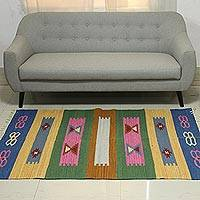 Wool dhurrie rug, 'Exciting Vintage' (4x6) - 4x6 Handwoven Multicolored Wool Dhurrie Rug from India