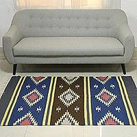 Wool dhurrie rug, 'Twinkling Fantasy' (4x6) - 4x6 Wool Dhurrie Rug with Striped Geometric Motifs