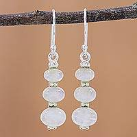 Rainbow moonstone dangle earrings, 'Natural Ellipses' - Rainbow Moonstone and 925 Silver Dangle Earrings from India