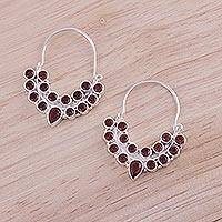 Garnet hoop earrings, 'Princess Radiance' - Garnet and Sterling Silver Hoop Earrings from India