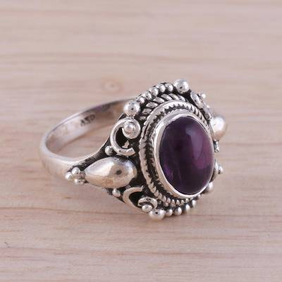 rings and mounts - Handcrafted Amethyst and Sterling Silver Cocktail Ring