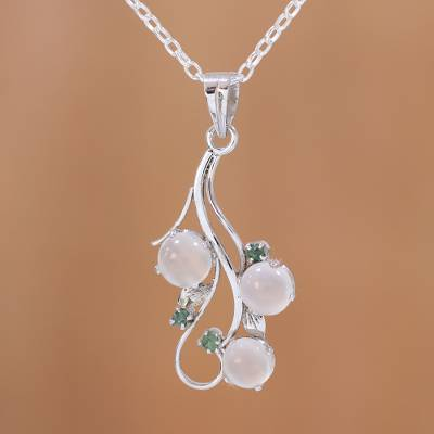 Moonstone and emerald pendant necklace, 'Misty Delight' - Rhodium Plated Moonstone and Emerald Pendant Necklace