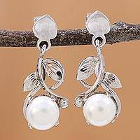 Rhodium plated cultured pearl dangle earrings, 'Purity Vines' - Rhodium Plated Cultured Pearl Dangle Earrings from India