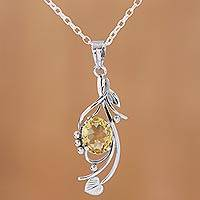 Rhodium plated citrine pendant necklace, 'Graceful Vine' - Rhodium Plated 4-Carat Citrine Pendant Necklace from India