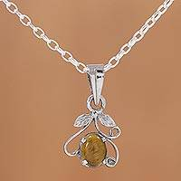 Tiger's eye pendant necklace, 'Blossom of Brown' - Rhodium Plated Tiger's Eye Pendant Necklace from India