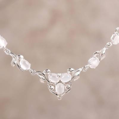 Rhodium plated moonstone link necklace, 'Celestial Glamour' - Moonstone and Rhodium Plated Sterling Silver Link Necklace