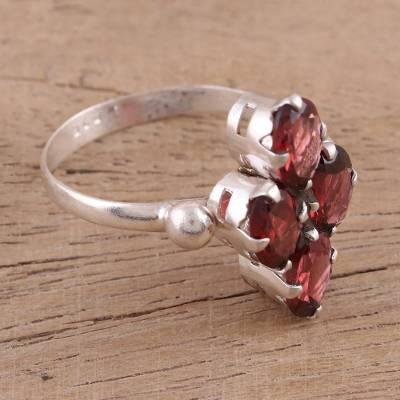Garnet cocktail ring, 'Red Sparkle' - Faceted Garnet and Silver Cocktail Ring from India