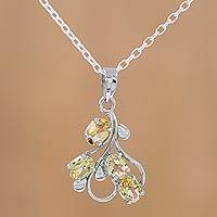Citrine pendant necklace, 'Golden Cluster' - Rhodium Plated Sterling Silver Pendant Necklace with Citrine