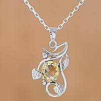 Citrine pendant necklace, 'Sunny Vines' - Rhodium Plated Citrine Pendant Necklace from India
