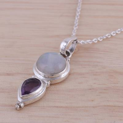 Amethyst and rainbow moonstone pendant necklace, 'Eternal Drop' - Amethyst and Rainbow Moonstone Pendant Necklace from India