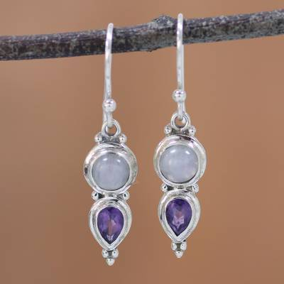 Amethyst and rainbow moonstone dangle earrings, 'Eternal Drops' - Amethyst and Rainbow Moonstone Dangle Earrings from India