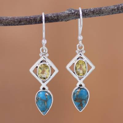 Citrine dangle earrings, 'Alluring Combination' - Citrine and Composite Turquoise Earrings from India