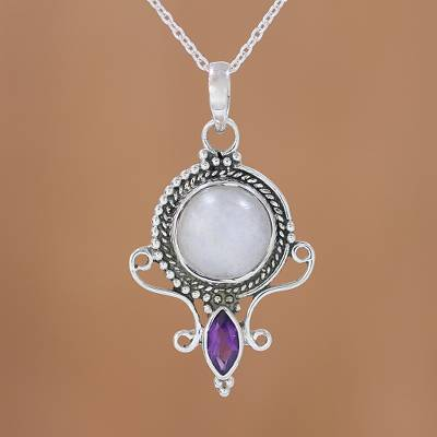 Rainbow moonstone and amethyst pendant necklace, 'Majestic Window' - Rainbow Moonstone and Amethyst Pendant Necklace from India