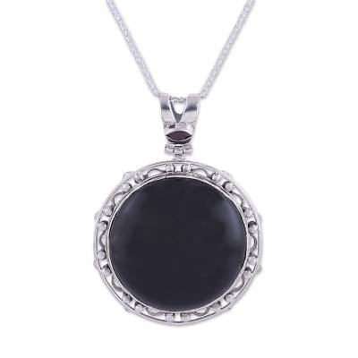 Onyx and Garnet Adjustable Pendant Necklace from India